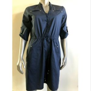 Adrianna Papell Dress 8 Blue Button Front Solid